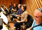 In the studio recording Tony Kadleck's CD. From L to R: Charles Pillow, Dave Mann, Aaron Heick, yours truly, Kenny Berger. Killin' sax section!